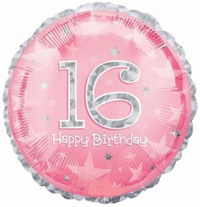 Pink 16 Happy Birthday Balloon