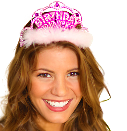 tiara birthday princess with pink marabou 2